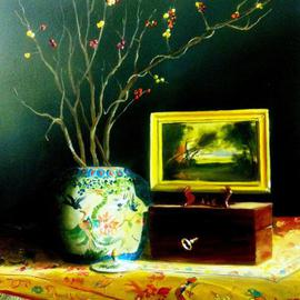 Tom Harmon: 'The Secret Box', 2013 Oil Painting, Still Life. Artist Description:  Chinese Vase with berry branches on Chinese silk rug. Wooden box supporting a small painting. ...