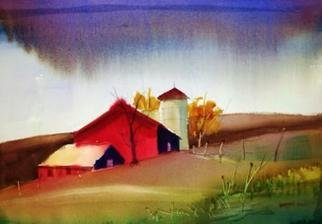 Tom Harmon: 'Yazoo Rain', 2011 Watercolor, Farm. Artist Description:    Colorful watercolor of farm buildings in rainstorm ...