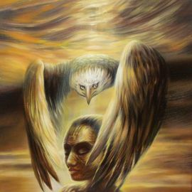 Rafal Mruszczak: 'guardian', 2017 Oil Painting, Surrealism. Artist Description: Keywords: protected, sepia, sunset, wing, woman, eagle, guardian, head, magical, fantasy...