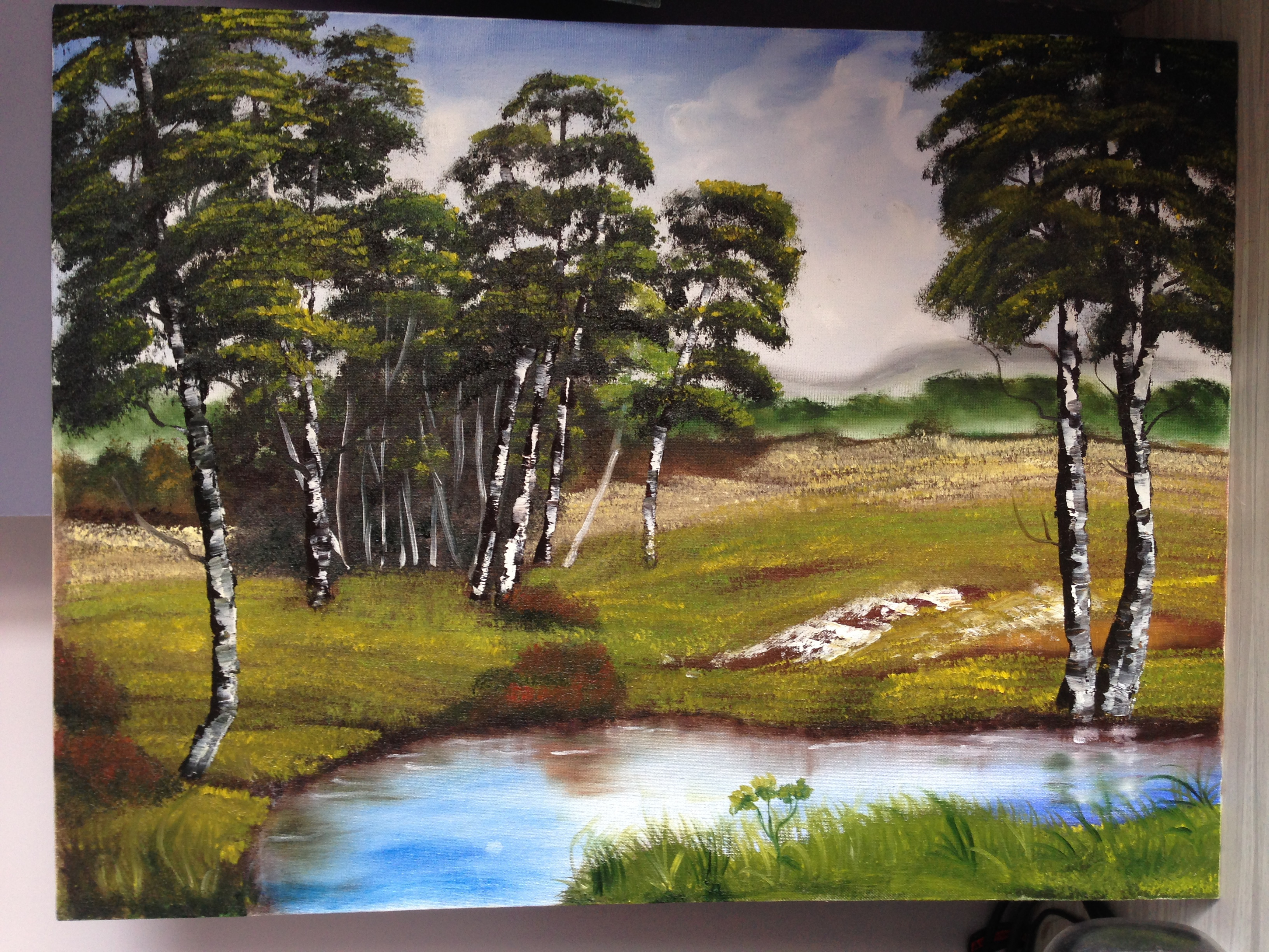 Trees Around A Pond Oil Painting By Mousmi Jain