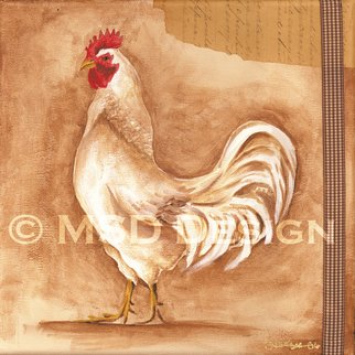 Michele Starzec Ducharme: 'Vintage Rooster', 2008 Collage, Farm.  Signed PrintMatted size: 11