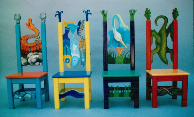 Artist Michelle Scott. 'Childrens Chairs Detail' Artwork Image, Created in 1996, Original Painting Acrylic. #art #artist