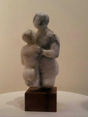 Marty Scheinberg: 'He and She', 2013 Stone Sculpture, Abstract Figurative. Artist Description:  Alabaster - White/ Dark Grey/ Caramel  ...