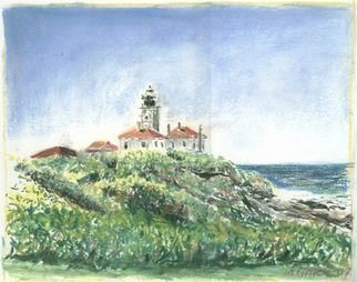 Michael Garr: 'Beavertail in August', 2007 Pastel, Marine.  Done on a clear day in AugustPlein Air ...