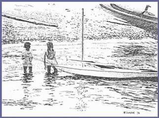 Michael Garr: 'Boats and Ladies', 1996 Pen Drawing, Marine. I loved the backlighting and play of waves against the shoreline. The drawing depicts My wife Jeanne and our friend Nancy Reichley getting ready to put away our sailboat at South Ferry beach, Narragansett RI....
