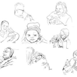 Michael Garr Artwork Coverdale Family with their new Generation Harper, 2011 Pen Drawing, Family