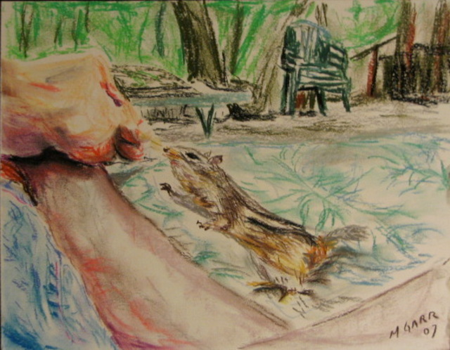Michael Garr  'Danas Chipmunk', created in 2007, Original Drawing Pastel.