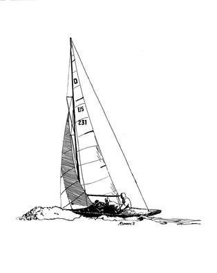 Michael Garr: 'Dragon', 1971 Pen Drawing, Sailing.      My third serious drawing  ...
