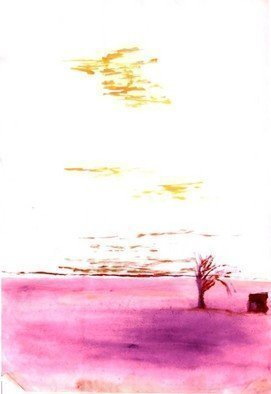 Michael Garr: 'End of World', 1973 Watercolor, Abstract Landscape.    A vision for the future from the age of Nuclear threat. ...