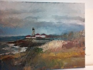 Michael Garr: 'Fall at beavertail light', 2015 Oil Painting, Marine.  Plein air. ...