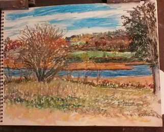 Michael Garr Artwork Fort Getty at halloween, 2015 Pastel Drawing, Landscape