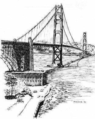 Michael Garr Artwork Golden Gate, 1997 Pen Drawing, Architecture
