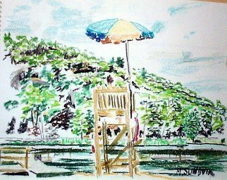 Beach Pastel by Michael Garr Title: Kanawauke Lifeguard, created in 2001