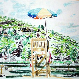 Michael Garr Artwork Kanawauke Lifeguard, 2001 Pastel, Beach