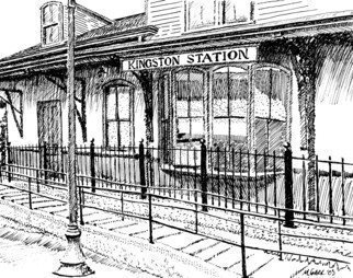 Michael Garr: 'Kingston Station', 2003 Pen Drawing, Transportation.    Local Amtrak Station near my home. ...