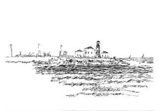 Michael Garr: 'Lighthouse', 2006 Pen Drawing, Marine. from my memory. Something like beavertail...