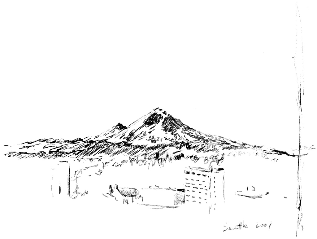 This is a graphic of Unusual Mt Rainier Drawing