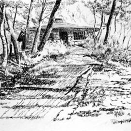 Michael Garr Artwork Museum on the Hill, 2005 Pen Drawing, Nature