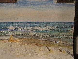 Beach Pastel by Michael Garr Title: Narragansett Monday swim, created in 2012