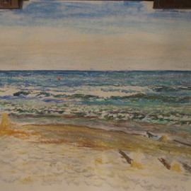 Michael Garr Artwork Narragansett Monday swim, 2012 Pastel, Beach