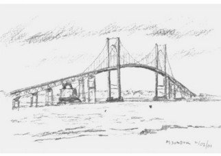 Michael Garr: 'Newport Bridge', 2001 Pencil Drawing, Marine.  Plein Air, and a cold one! ...