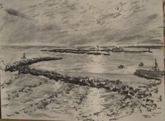 Michael Garr: 'Pt Judith Harbor of Refuge', 2013 Charcoal Drawing, Marine.     Plein air drawing October 9 2013 ...