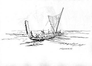 Michael Garr: 'Small boat transfer', 2003 Pen Drawing, Marine. This drawing was done on a challenge from Al Ruiz while on a sea test for the Navy. We had done several small boat transfers of our own. The polynesians did the real transfers. ...