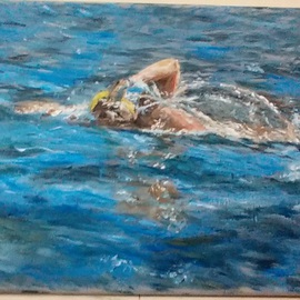 Michael Garr: 'Sunny swimmer', 2014 Oil Painting, Sports. Artist Description:   An oil painting done in the studio from a photo by Frank McQuiggan  ...