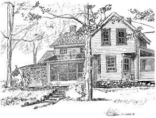 Michael Garr: 'The Conklin House', 1996 Pen Drawing, Farm.     An old farm house on the property at Camp K20, Bear Mountain, NY  ...