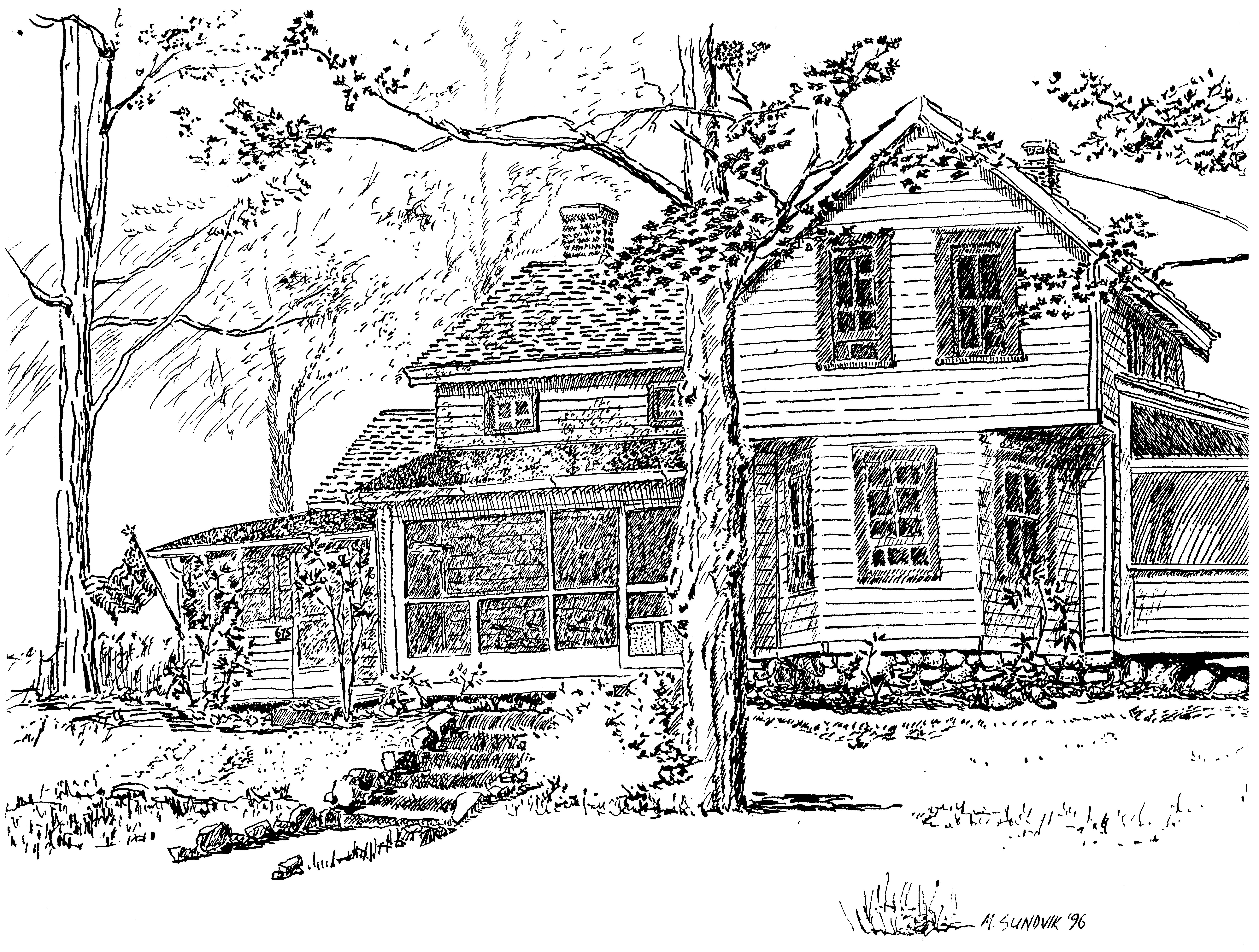 Michael garr artwork the conklin house original drawing for Farm house drawings