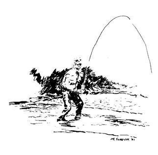 Michael Garr: 'The fly fisher', 2001 Pen Drawing, Fish. Minimalist sketch of a fellow who has one on his line in a mountain stream. The Original was given to my Freind Burt Strom, who got me started in fly fishing ( along with my son Albert)...