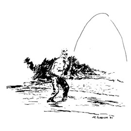 Michael Garr Artwork The fly fisher, 2001 Pen Drawing, Fish