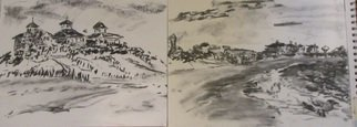 Michael Garr: 'Two Sketches at Galilee', 2013 Charcoal Drawing, Marine.      Plein air drawing November 11 2013  ...