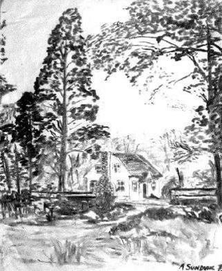 Landscape Charcoal Drawing by Michael Garr Title: Valley Cottage House, created in 1975