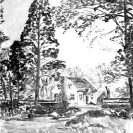 Michael Garr Artwork Valley Cottage House, 1975 Charcoal Drawing, Landscape
