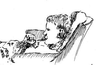 Michael Garr: 'Watchin TV', 1998 Pen Drawing, Children. Dan quietly enjoying PBS, fascinated by something, sat enraptured by the tube. ...