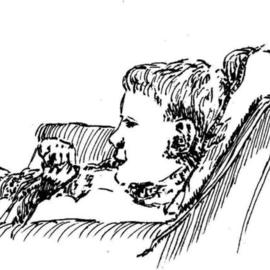 Michael Garr: 'Watchin TV', 1998 Pen Drawing, Children. Artist Description: Dan quietly enjoying PBS, fascinated by something, sat enraptured by the tube. ...