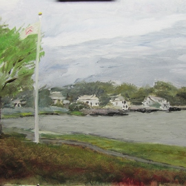 Michael Garr: 'Wickford Cove evening', 2014 Oil Painting, Landscape. Artist Description:    View from Wickford Town Beach looking North ...