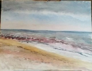 Michael Garr: '  green hill beach', 2015 Oil Painting, Beach. Quick plein air sketch ...