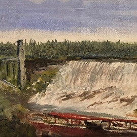 Michael Garr: 'american falls', 2020 Oil Painting, Landscape. Artist Description: Recent visits to Niagara inspired this work...