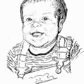 Michael Garr: 'baby Ben', 2005 Pen Drawing, Children. Artist Description: A commission. Ben is the pride and Joy of my co- worker, Chris Curtis. The drawing is a Christmas Present. Happy baby' s first Christmas. . . . ...