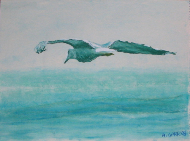 Michael Garr  'Gull Over The Sea', created in 2008, Original Drawing Pastel.
