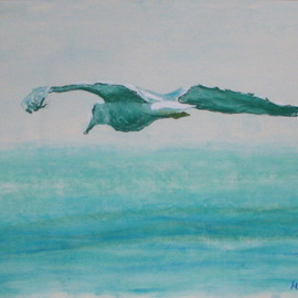 gull over the sea  By Michael Garr