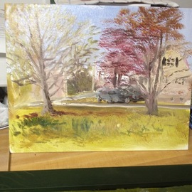 Michael Garr: 'in the neighborhood', 2018 Oil Painting, Landscape. Artist Description: A plein air painting during the evening monday night painting group session at Lorena Pugh s studio...
