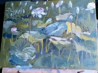 Michael Garr: 'lotus pond', 2015 Oil Painting, Floral.  Quick plein air sketch...