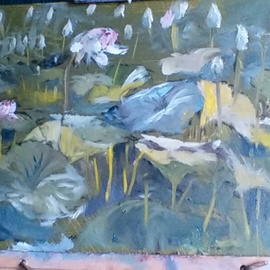 Michael Garr Artwork lotus pond, 2015 Oil Painting, Floral
