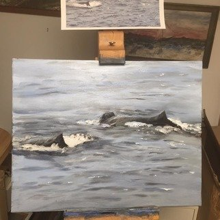 Michael Garr: 'mother and calf', 2021 Oil Painting, Animals. Humpback whales in consort together...