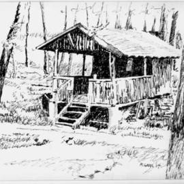 Michael Garr: 'outhouse', 2004 Pen Drawing, Culture.