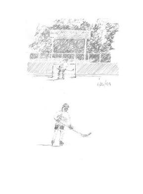 Michael Garr: 'roller kids', 1999 Pencil Drawing, Children.  Local kids playing organized roller hockey in the summer ...
