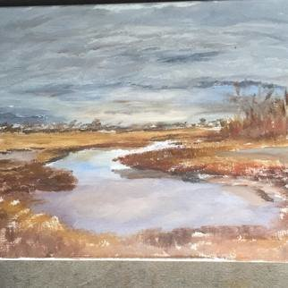 Michael Garr: 'succotash marsh', 2021 Oil Painting, Marine. A Plein Air Painting in Early Spring...